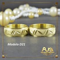 Alianças Ouro 12k 6mm Trabalhadas-frete Grátis- 12xs/jur D21