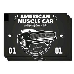 Jogo Americano Pvc C/4 Gm American Muscle Car Preto