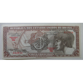 C112: Cédula 5 Cruzeiros Indio 1962 Fe S 084 Vale + R$18,00