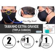 2 Máscaras Tecido Extra Grande Tripla Camada Com Clip Nasal