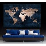 Cuadro Moderno Mapa Mundi Azul Dorado/cobre 150x110 Cm