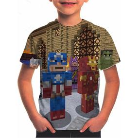 Camiseta Minecraft Vingadores Estampa Total Infantil