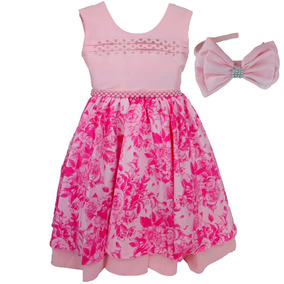 Vestido De Luxo Infanto Juvenil Floral Pink C/brilho E Tiara