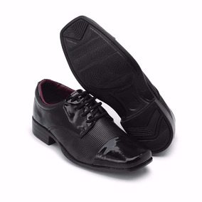 Sapato Social Infantil Couro Masculino Uniforme 441 Verniz#