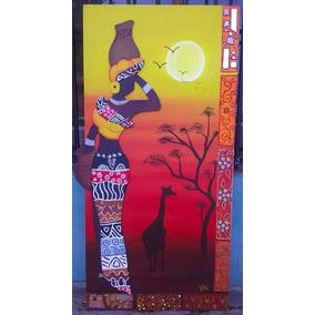 Cuadro Morocha Africana Pintado A Mano