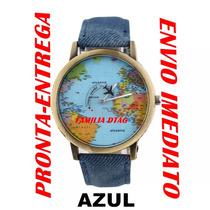 Relógio Pulso Mapa Mundi Avião Globo Viagem Pronta-entrega