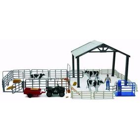 1:18 Set Granja Corral Vacas Ordeña Cuatrimoto Granjero