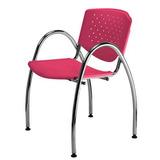 Cadeira Prisma Fixa Estrutura Apoia Braços Cromada Melancia
