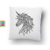 Cojin Para Colorear Mandala Unicornio + Envío Gratis - 45x45