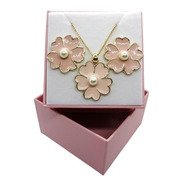 Conjunto Flores Rosa Banhado A Ouro 18 K Pinkcat