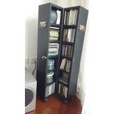 Mueble Negro, Diseño Para Cds,cerrado Con Ruedas