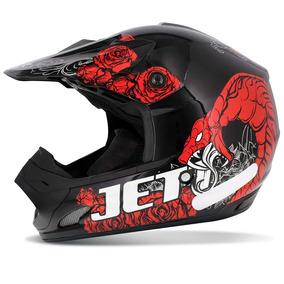 Capacete Motocross Pro Tork Th1 Jett Veneno Preto Vermelho