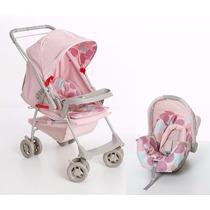 Kit Carrinho + Bebê Conforto Milano Rosa Bebê Galzerano