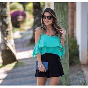 Kit Conjunto Shorts Crepe + Blusa Cirre Lindo Oferta Moda