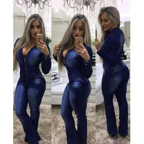 c05eaef98 Macacão Jeans Feminino Sem Manga Com Lycra E Zíper - Macacão para ...