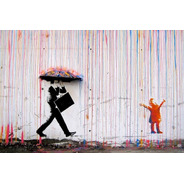 Poster 50x75cm Banksy - Chuva - Rain - Para Decorar Casa