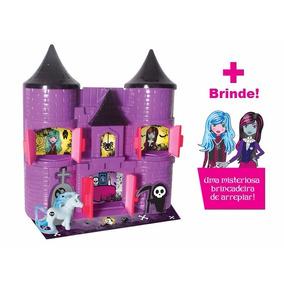 Castelo Dark Monster High Bruxa Menina Brinquedo + Brinde