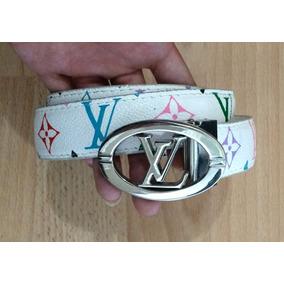 Cinturon Blanco Monogram De Colores Herrajes Plateados!!