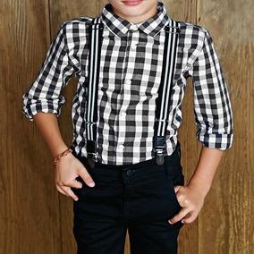 Camisa Leñadora Blanco Con Negro Para Niño