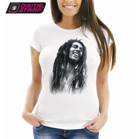 Remeras Mujer Bob Marley Reggae 4 Digital Stamp Dtg Premium