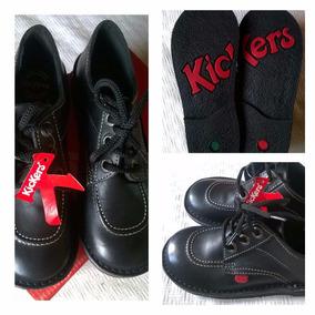 Zapatos Kickers 34 Cuero Modelo Scoop Nuevos Negros Sin Uso
