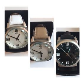 Relógio De Pulso Ck Calvin Klain Modelo Quartzo Couro