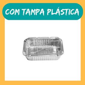 100un Marmitinha 220ml Alumínio Tampa Plástica Embalagem D12