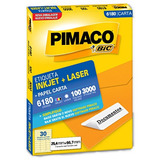 Etiqueta Carta 6180 25,4x66,7mm Ink-jet/laser Pimaco 100 Fol