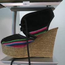 Sandalia Aguayo Taco Chino Con Plataforma