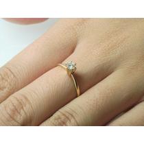 Lindo Anel Solitário Em Ouro Amarelo 18k 750 Com Diamante!!!