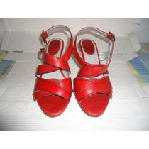 Sandalias Usadas Rojas #38 De Cuero Colombiano Como Nuevas