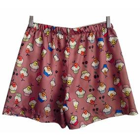 Samba Canção Shorts Cetim Cupcake Tamanho M (defeito)