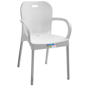 Cadeira Plástica Com Pés De Alumínio Com Braço Paramonunt