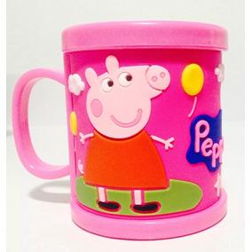 Caneca Plástica Peppa Pig E George Alto Relevo Emborrachada