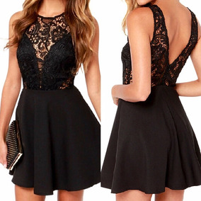 Vestido Negro Femenino De Noche O Fiesta De Encaje-talla M