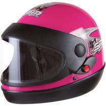 Capacete De Moto Feminino Rosa - Viseira Anti Risco - Tam 58