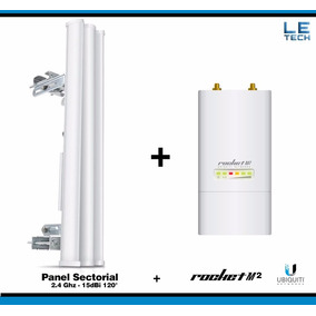 Combo Rocket M2 2.4ghz + Panel Ubiquiti 2.4 15dbi 120 - Kit