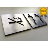 Señalética Baños Símbolos Para Puertas Cartel Acero Inox Eme