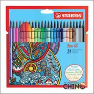 Marcador Stabilo Pen 68 X 24 Colores En Caja De Cartón