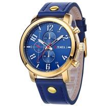 Relógio Analógico Dourado Couro Quartzo Barato Compra Fácil