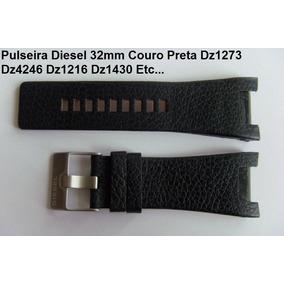 Pulseira Diesel 32mm Dz-4246 Dz1215 Couro Preta Frete Grátis