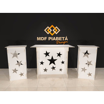 Kit Mesa Provencal Mdf 1 Mesa + 2 Cubos (mdf Branco) Estrela