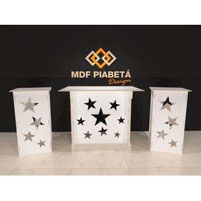 Kit Provençal Mdf Branco Estrela - Decoração Festa Mesa Cubo