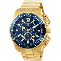 Relógio Invicta Pro Diver Plaque Ouro Fundo Azul Ref 21954