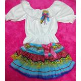 Conjunto Vestido Festa Junina Infantil Fantasia Caipira