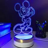 Luminária Mickey Abajur 6 Cores Led 3d Disney Ligh Led 110v.