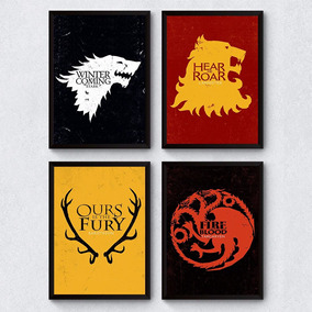 Combo 4 Poster Quadro Decorativo Casas Game Of Thrones 20x30