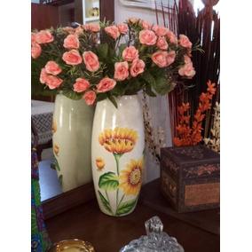 Elegante Y Fino Florero Jarron Ceramica Girasoles Y Flores