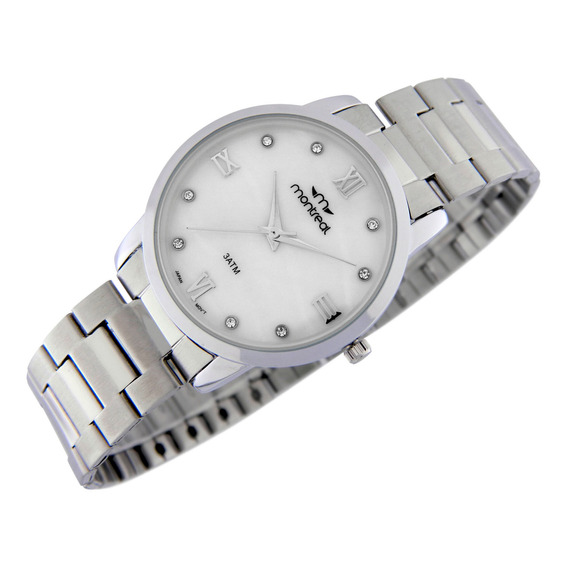 Reloj Montreal Mujer Ml887 Malla Acero Caja Extra Delgada