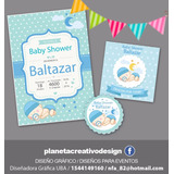 Invitación Imprimible Baby Shower Varón Stickers De Regalo!